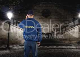 security guard guarding the park at night