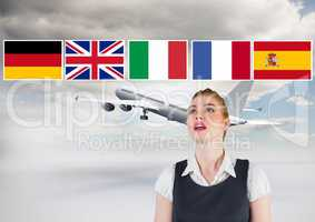 main language flags over businesswoman with plane behind