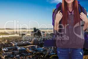 Traveler above the city