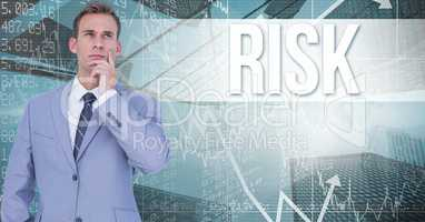 Digital composite image of thoughtful businessman standing against risk text and graphs