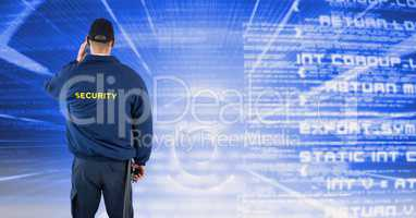 Rear view of security guard facing text background