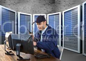 security guard in servitor room  with computers