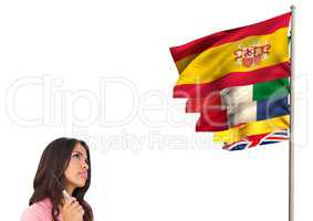 main language flags near young woman looking it