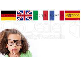 main language flags with word over girl with glasses
