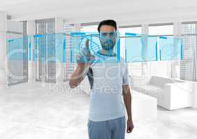 Futuristic room interface, sporty man with blue interface about human body