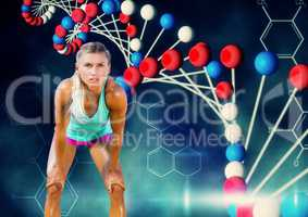 sporty with colors dna chain and dark blue background