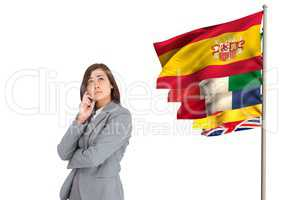 main language flags near businesswoman thinking