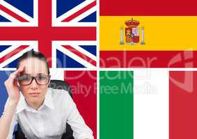 main language flags behind overwhelmed young woman