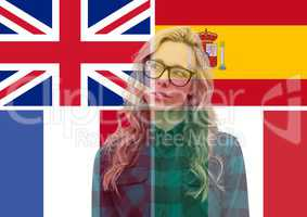 main language flags and young woman overlap