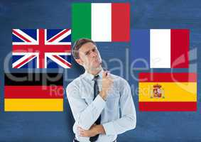 main language flags around young man. Dark blue background