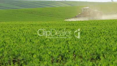 Tractor Watering Young Wheat