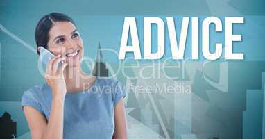 Businesswoman calling with a blue background with  advice written