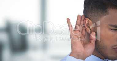 Cropped image of businessman listening gossip