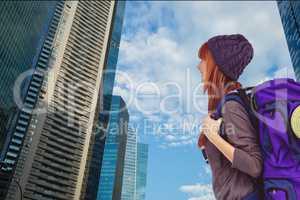 Traveler walking in a city