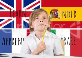 main language flags with words around boy thinking