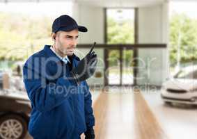 security guard of the concessionary  with walkie-talkie