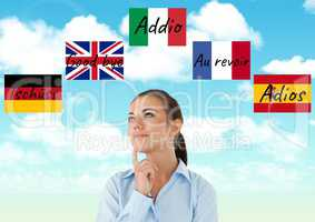 main language flags with waves around young woman thinking. Sky background