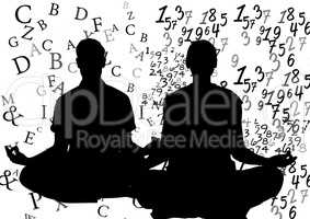 silhouettes doing yoga: 1 with text around him, 1 with numbers around her.