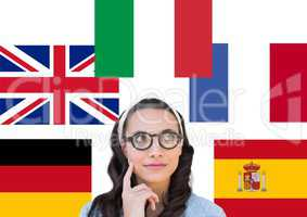 main language flags around young woman thinking