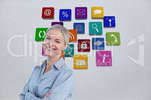 Smiling businesswoman against background of 3D assets