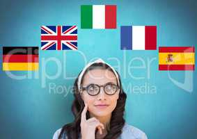main language flags around young woman with glasses. Blue background