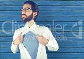 hipster opening the t-shirt with blue wood background