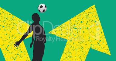 Shadow of a footballer playing in front of a green and yellow wall