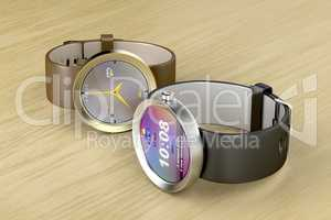 Silver and gold smart watches
