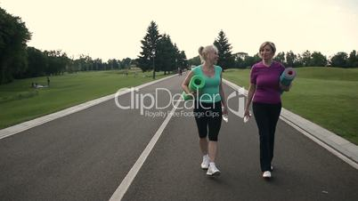Fitness adult women going for sports in the park