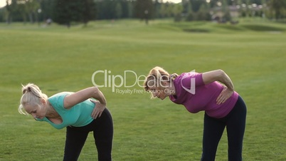 Fitness ladies making stretching exercise outdoors