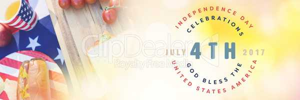 Composite image of multi colored happy 4th of july text against white background