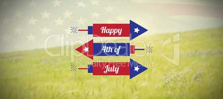 Composite image of digitally generated image of rockets with happy 4th of july text