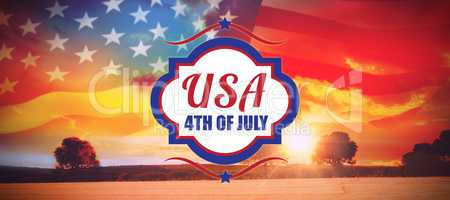 Composite image of digitally generated image of 4th of july text