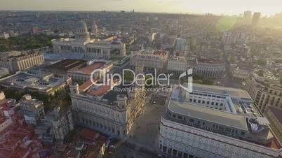 Cuban Landscape Buildings Old Havana Drone Flying In Sky