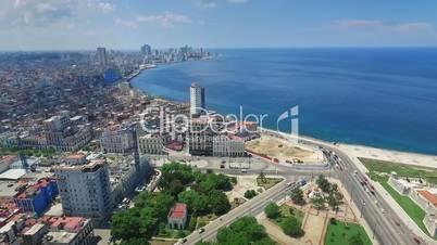 Aerial View Havana Skyline Caribbean Sea Cuba With Drone