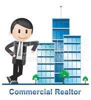 Commercial Realtor Buildings Describes Real Estate 3d Illustrati