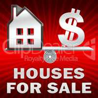 Houses For Sale Displays Sell House 3d Illustration