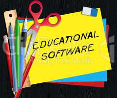 Educational Software Means Learning Application 3d Illustration