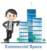 Commercial Space Buildings Describes Real Estate 3d Illustration