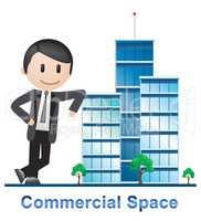 Commercial Space Buildings Describes Real Estate 3d Illustration