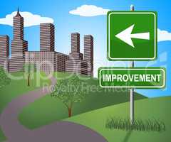 Improvement Sign Shows Progress Growth 3d Illustration