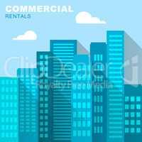 Commercial Rentals Downtown Describes Real Estate 3d Illustratio