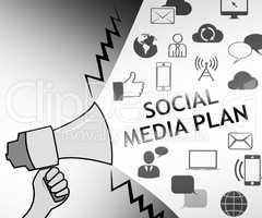 Social Media Plan Representing Networking Aims 3d Illustration
