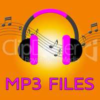 Mp3 Files Showing Melody Listening 3d Illustration