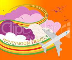 Honeymoon Travels Means Destinations Vacational 3d Illustration