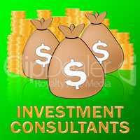 Investment Consultants Shows Investing Specialist 3d Illustratio