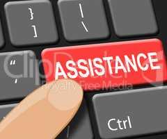 Assistance Key Shows Online Help 3d Illustration