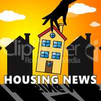 Housing News Shows Home For Sale 3d Illustration