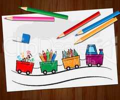 Stationery Supplies Train Shows School Materials 3d Illustration