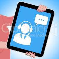 Voip Tablet Showing Voice Over Broadband 3d Illustration